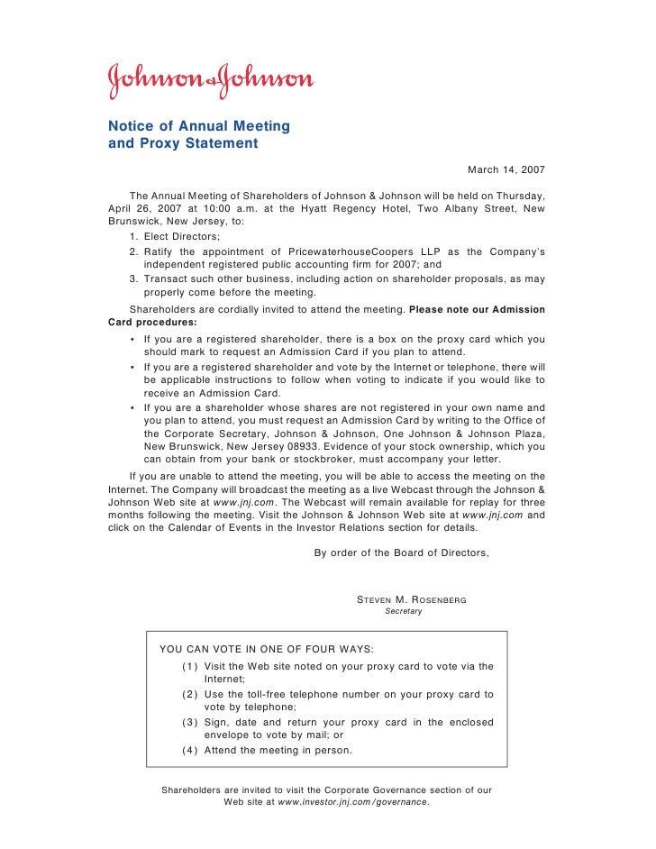 johnson & johnson 2007 Proxy Statement