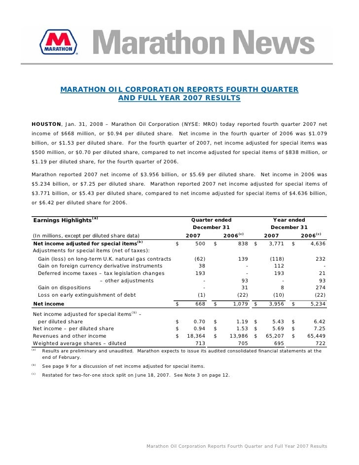 MARATHON OIL CORPORATION REPORTS FOURTH QUARTER                          AND FULL YEAR 2007 RESULTS   HOUSTON, Jan. 31, 20...