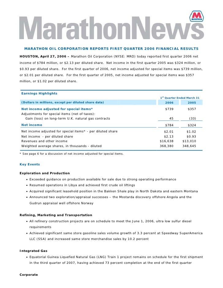MARATHON OIL CORPORATION REPORTS FIRST QUARTER 2006 FINANCIAL RESULTS  HOUSTON, April 27, 2006 – Marathon Oil Corporation ...