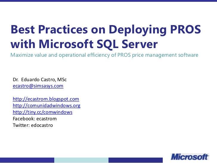 Mejores Practicas Implementar PRO SQL Server
