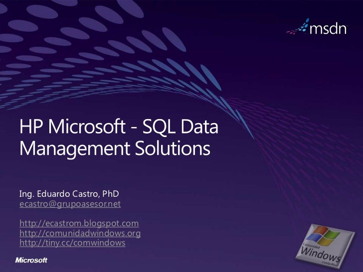 HP Microsoft SQL Server Data Management Solutions