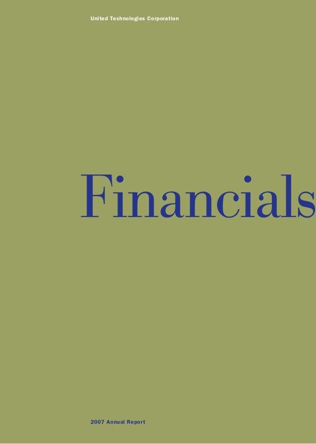 United Technologies Corporation 2007 Annual Report Financials