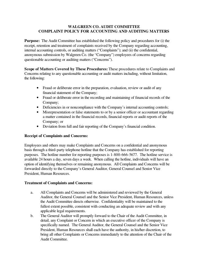 Audit Committee Complaint Policy for Accounting and Auditing Matters