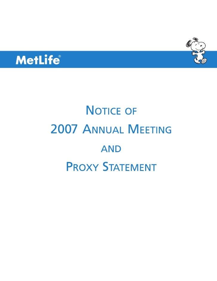 metlife Proxy Statement2007