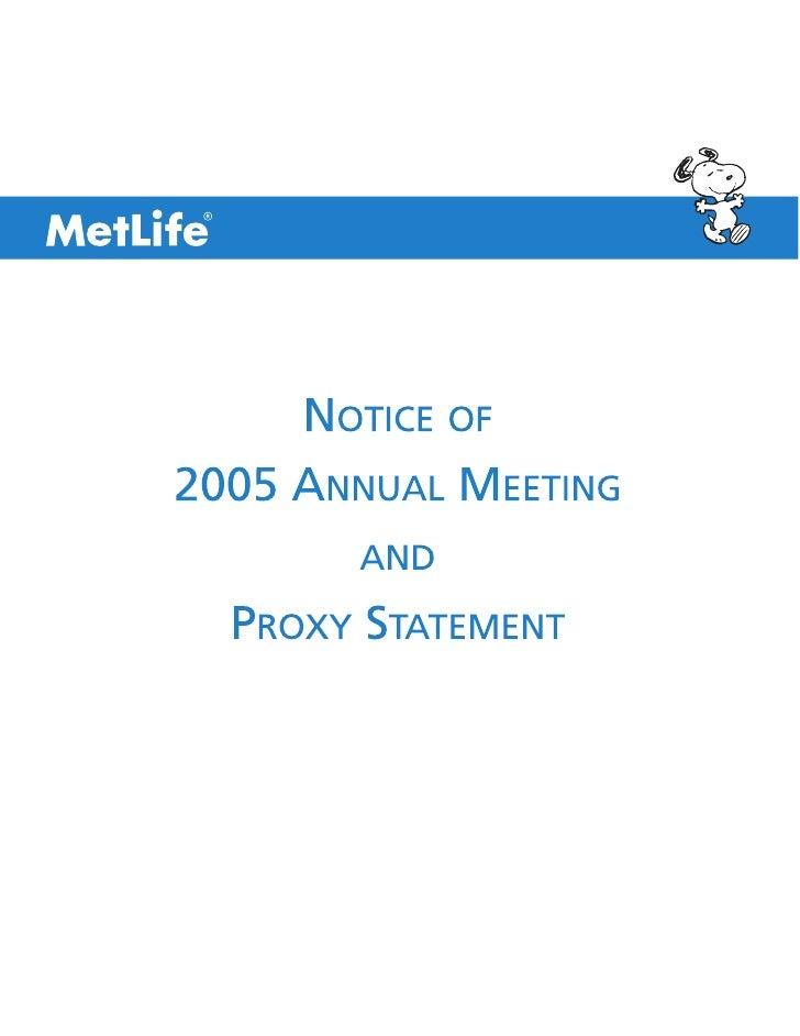 MetLife, Inc. 200 Park Avenue, New York, NY 10166                                                                         ...