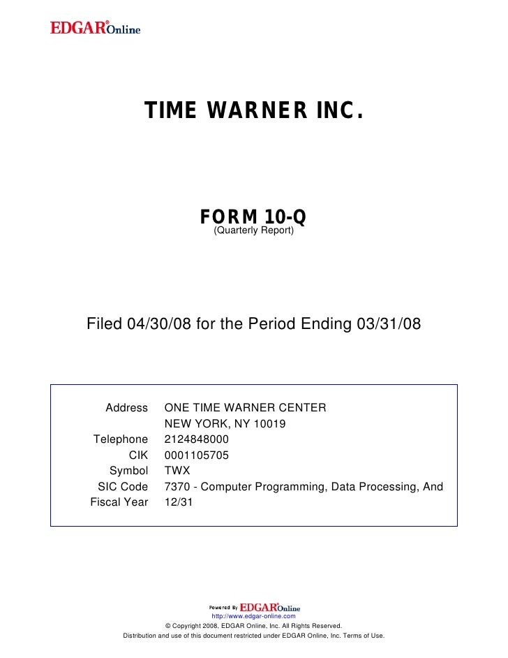 TIME WARNER INC.                                   FORM Report)10-Q                                 (Quarterly     Filed 0...