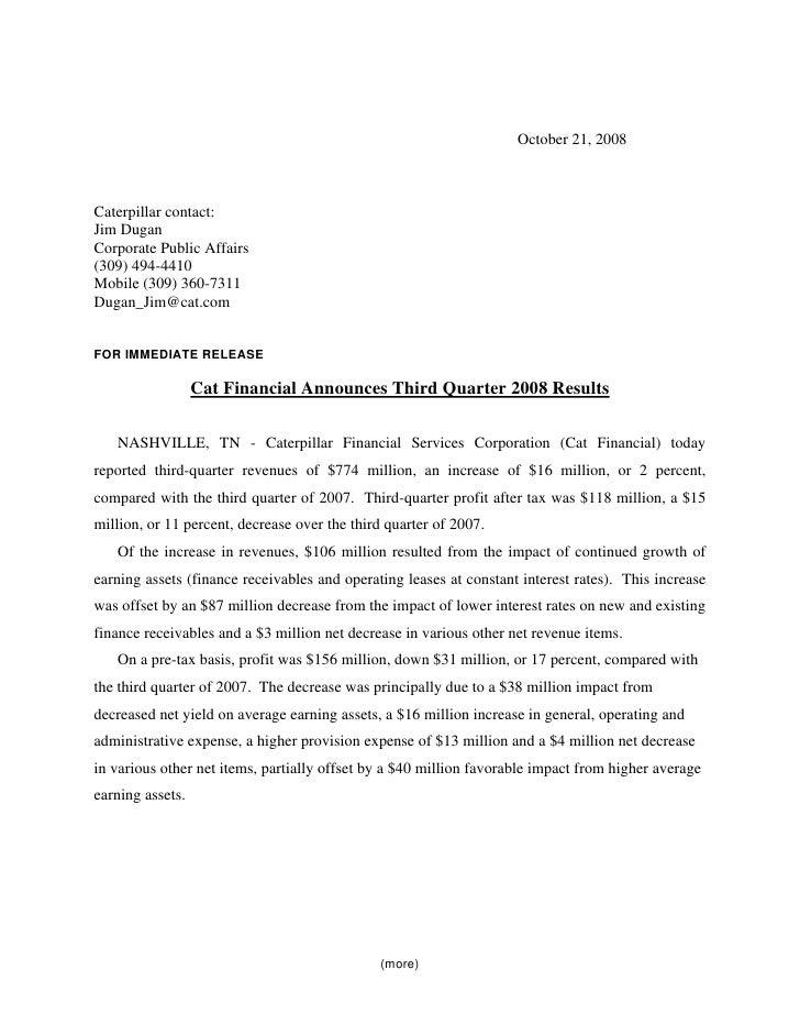 October 21, 2008    Caterpillar contact: Jim Dugan Corporate Public Affairs (309) 494-4410 Mobile (309) 360-7311 Dugan_Jim...