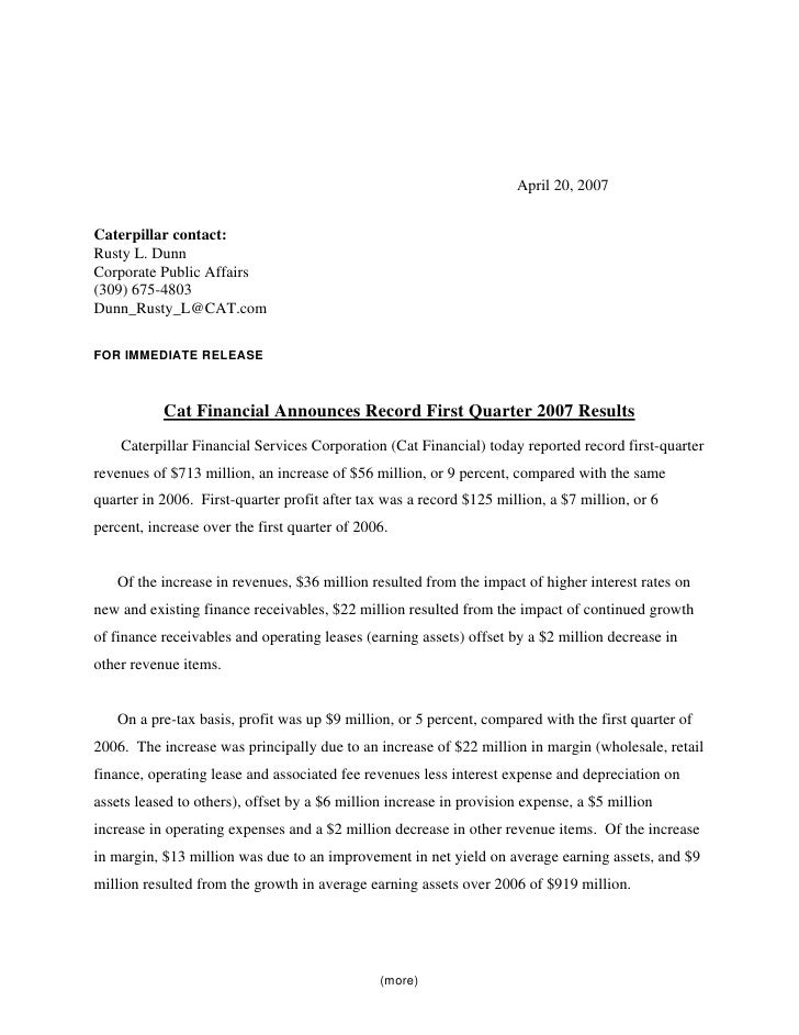 caterpillar Quarterly Releases » • 1Q07 Cat Financial Results