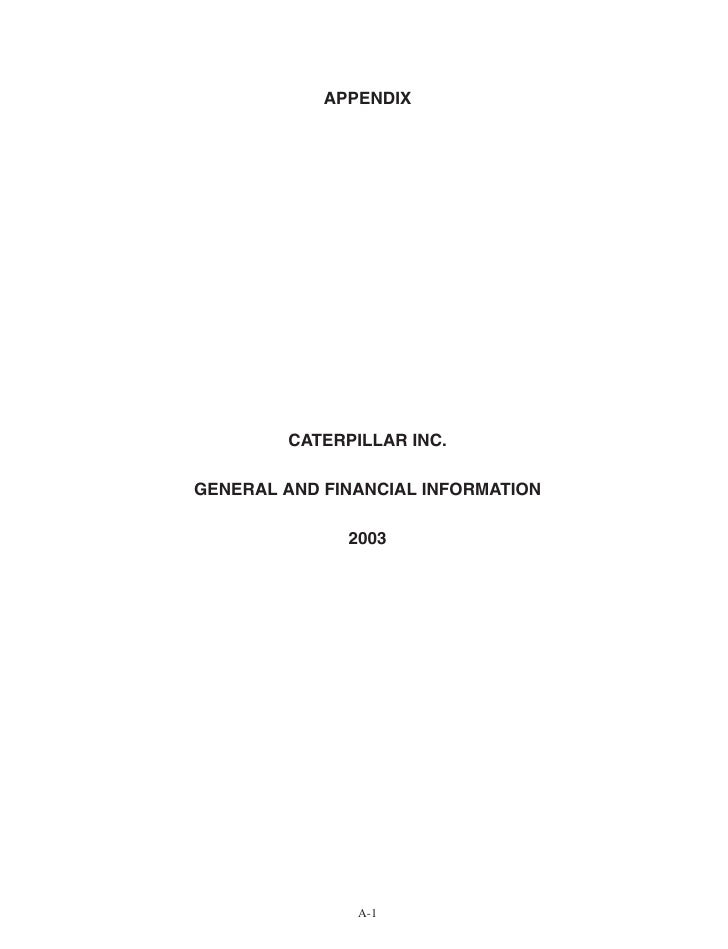 2003 General and Financial Information (Proxy Appendix)