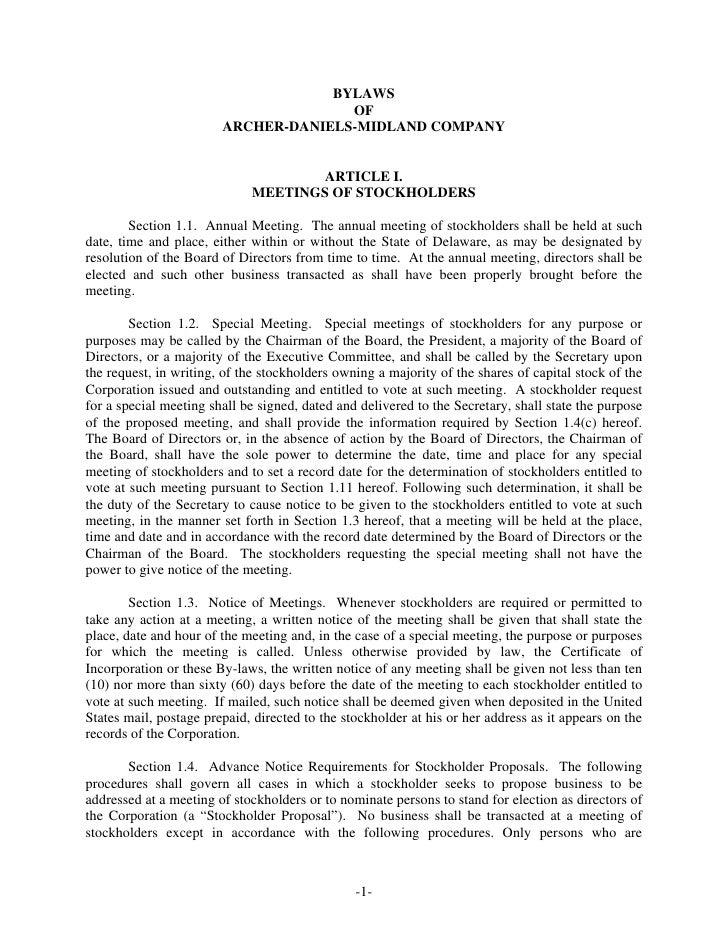BYLAWS                                       OF                         ARCHER-DANIELS-MIDLAND COMPANY                    ...