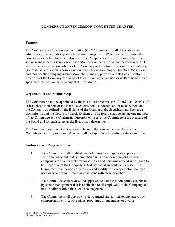 Compensation and Succession Committee Charter