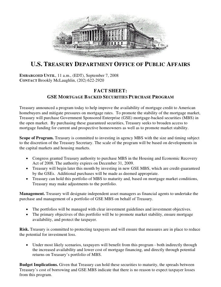 U.S. TREASURY DEPARTMENT OFFICE OF PUBLIC AFFAIRS EMBARGOED UNTIL, 11 a.m., (EDT), September 7, 2008 CONTACT Brookly McLau...