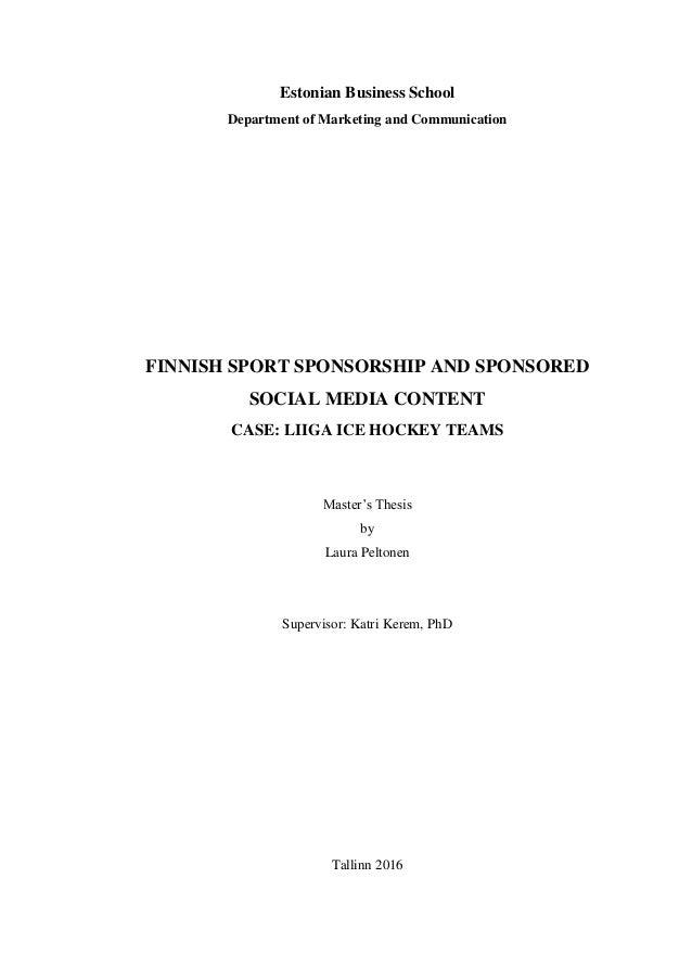 Master thesis sponsorship