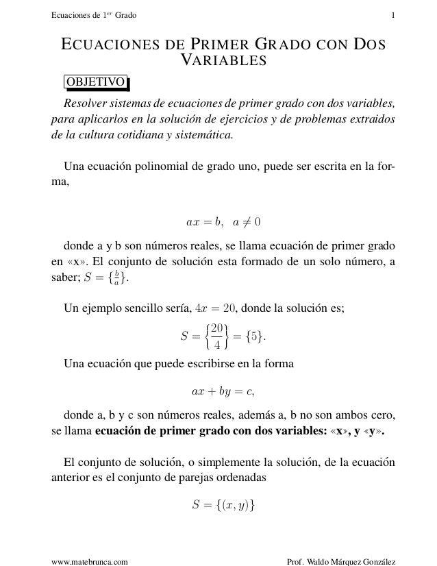 Ecuaciones Lineales Con Dos Incognitas