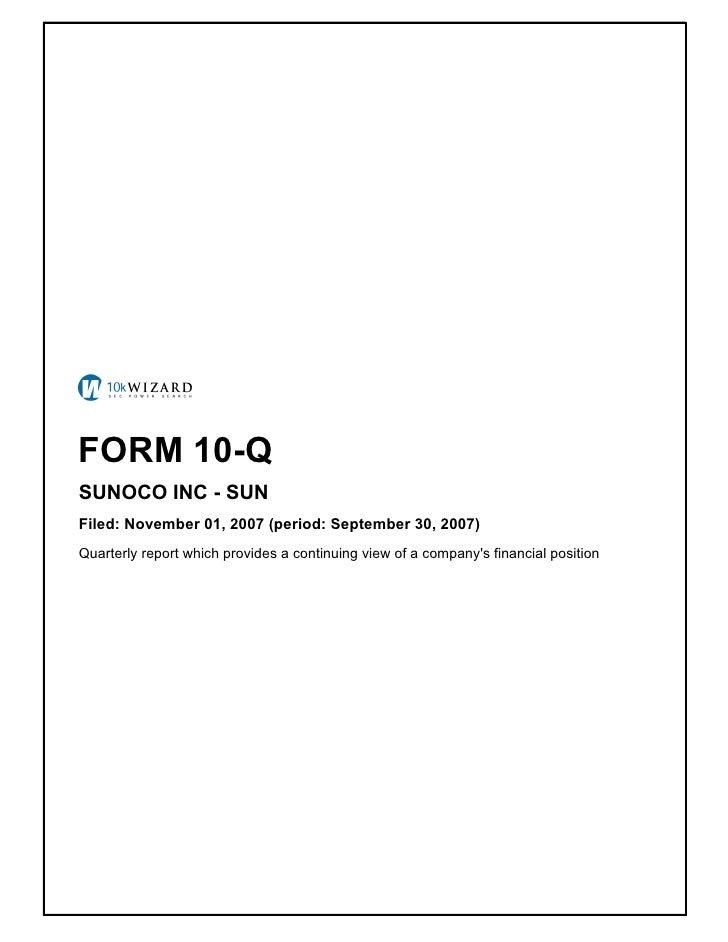 sunoco Quarterly Reports 2007 3rd