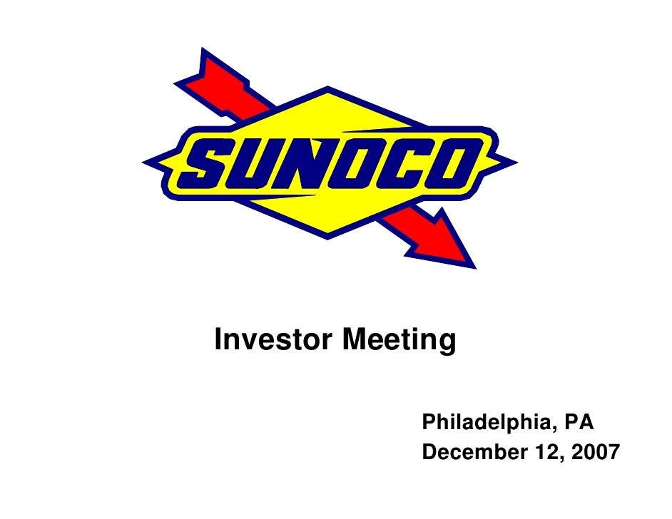 Investor Meeting               Philadelphia, PA              December 12, 2007
