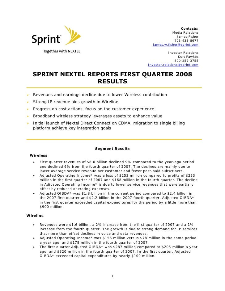 sprint nextel Quarterly Results 2008 1st