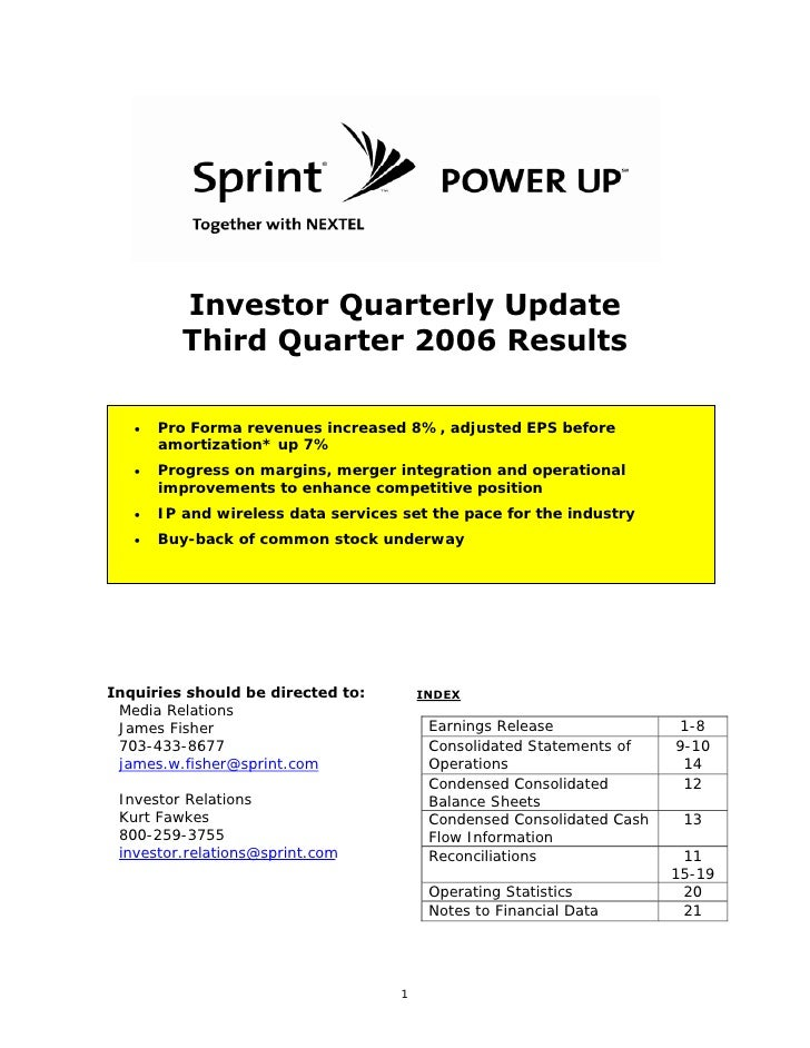 Investor Quarterly Update           Third Quarter 2006 Results         Pro Forma revenues increased 8%, adjusted EPS befor...