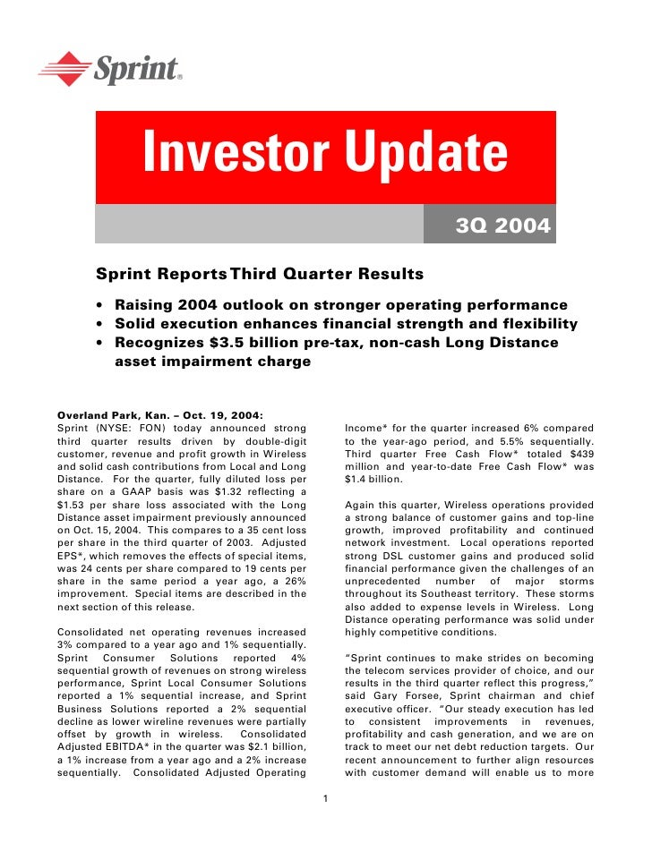 sprint nextel Quarterly Results 2004 3rd