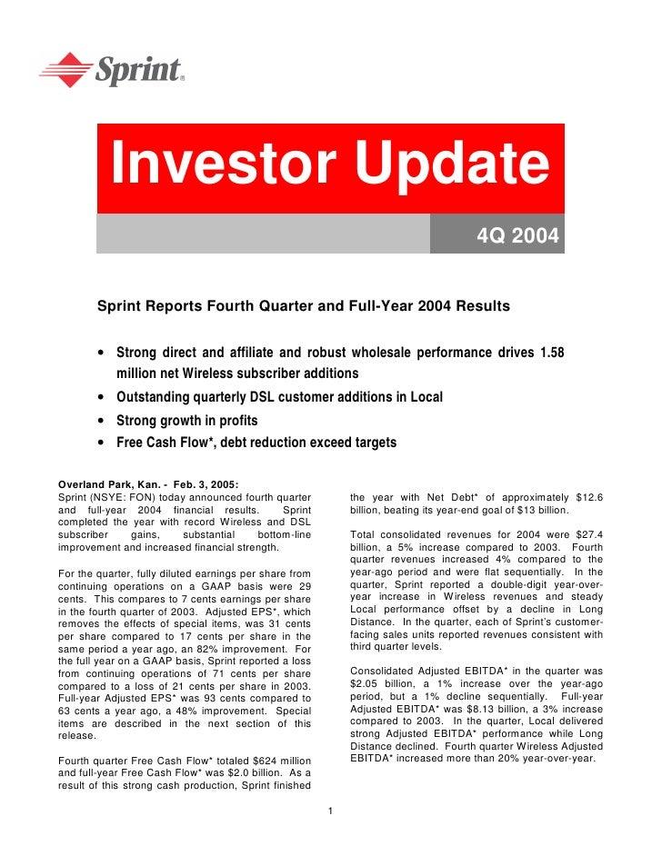 Investor Update                                                                                       4Q 2004           Sp...