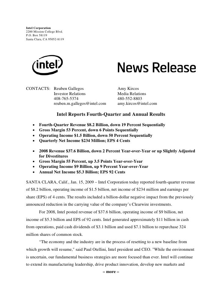 intel Quarter 2008Earnings Release Q 4th