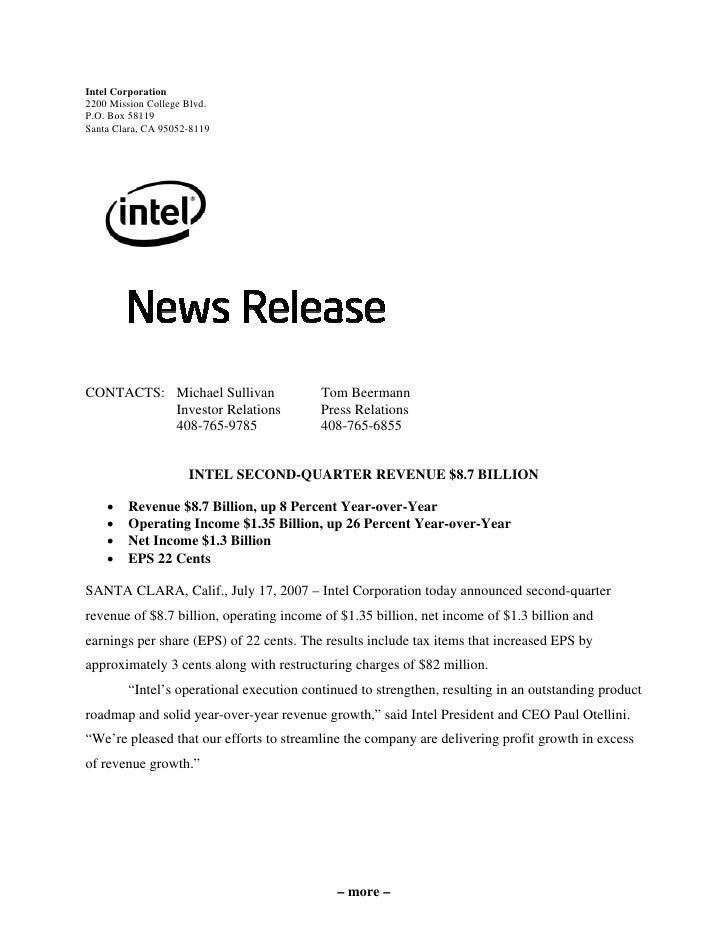 intel  Second Quarter 2007  Earnings Release
