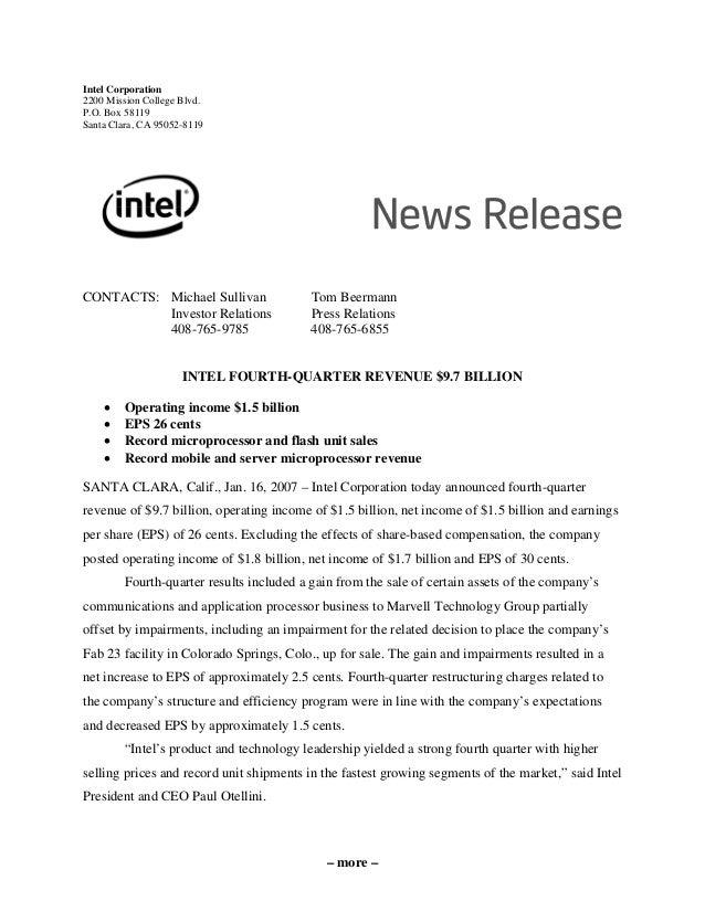 Intel Corporation 2200 Mission College Blvd. P.O. Box 58119 Santa Clara, CA 95052-8119 CONTACTS: Michael Sullivan Tom Beer...