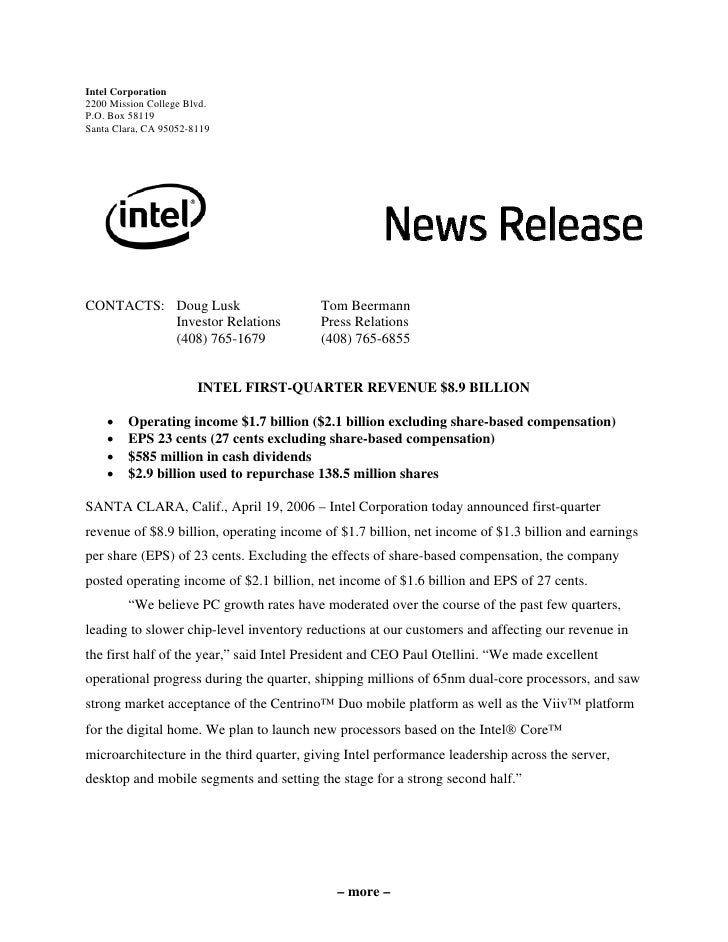 intel  First Quarter 2006 Earnings Release