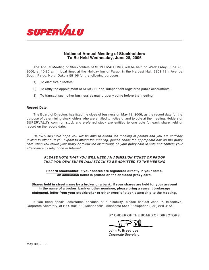 Notice of Annual Meeting of Stockholders                           To Be Held Wednesday, June 28, 2006      The Annual Mee...