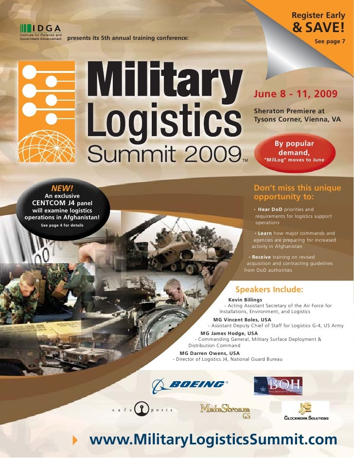 IDGA's Military Logistics Summit 2009 Program Agenda