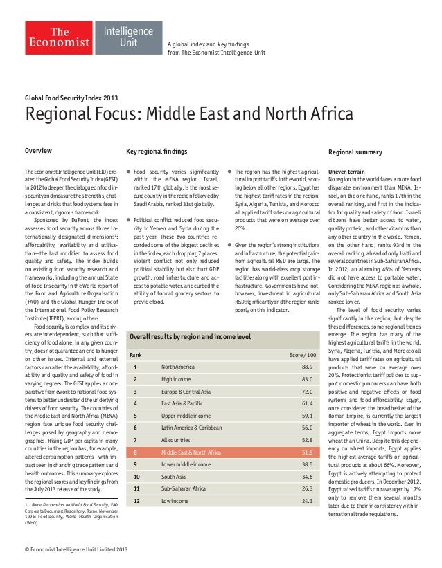 © Economist Intelligence Unit Limited 2013 Global Food Security Index 2013 Regional Focus: Middle East and North Africa Ov...
