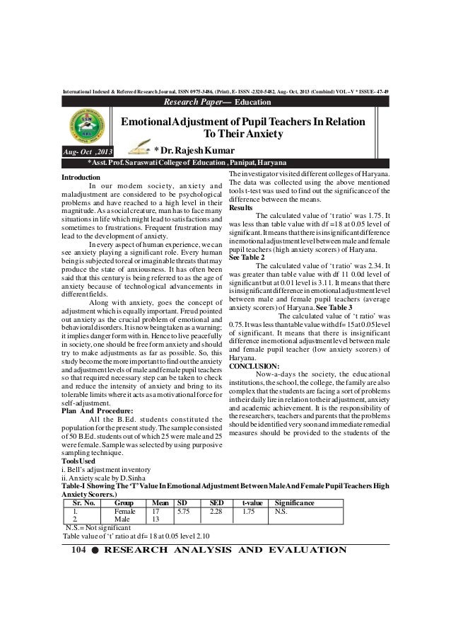 104 RESEARCH ANALYSIS AND EVALUATION International Indexed & Refereed Research Journal, ISSN 0975-3486, (Print), E- ISSN -...