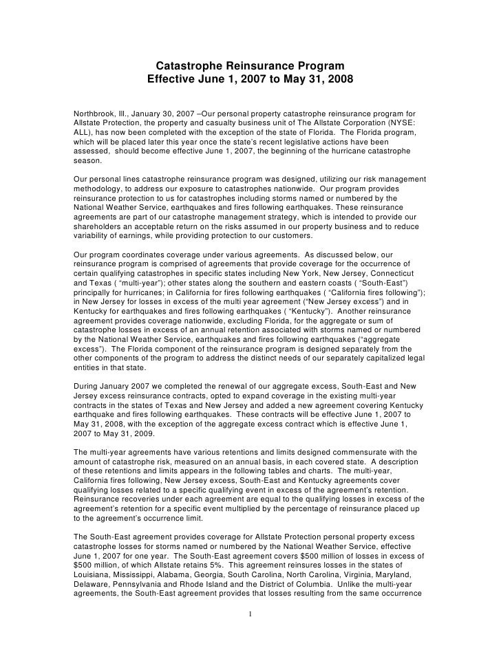allstate Quarterly Investor Information Reinsurance Update2006 4th