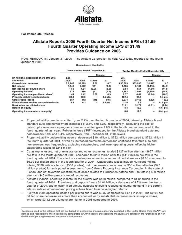 allstate Quarterly Investor Information 2005 4th Earnings Press Release