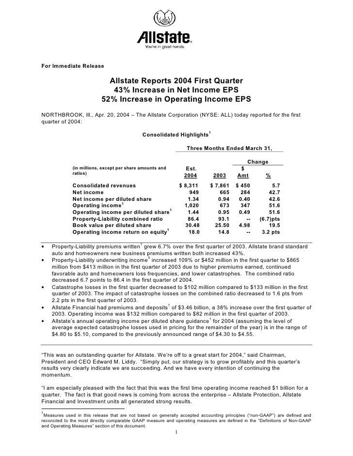For Immediate Release                               Allstate Reports 2004 First Quarter                               43% ...