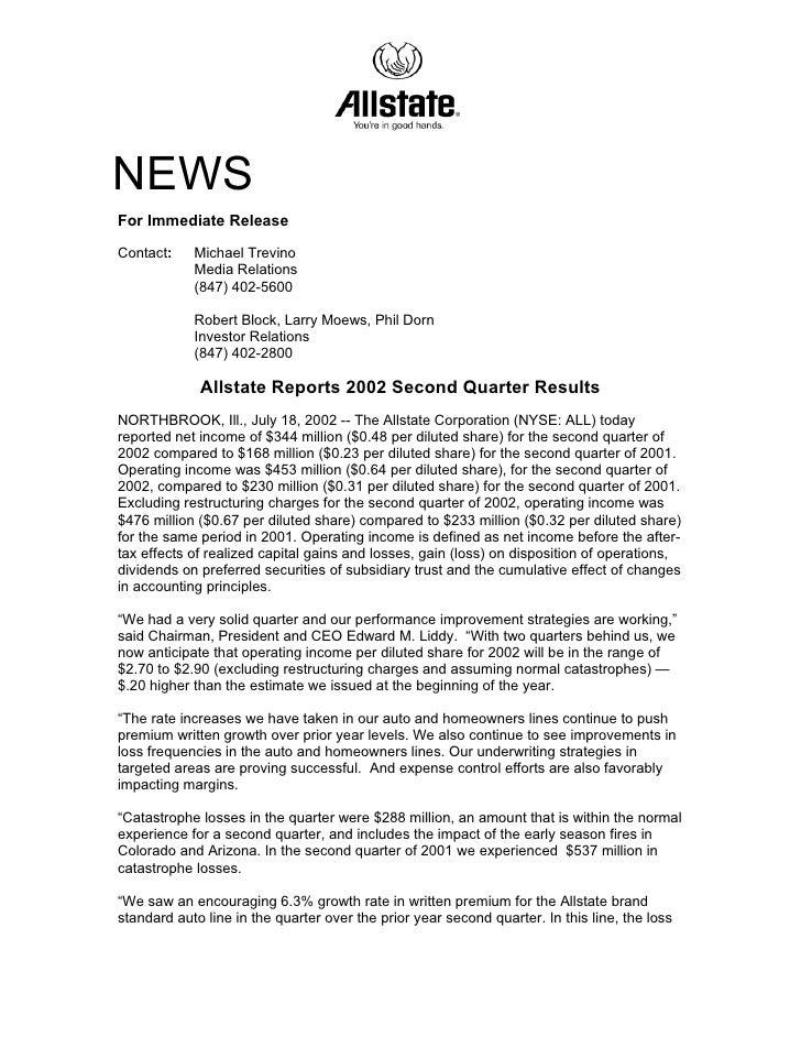 allstate Quarterly Investor Information 2002 2nd