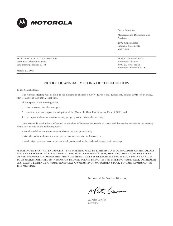 motorola Proxy Statement for 2003 Annual Meeting (Includes Management's Discussion and Analysis and Financial Statements for 2002 Annual Results)