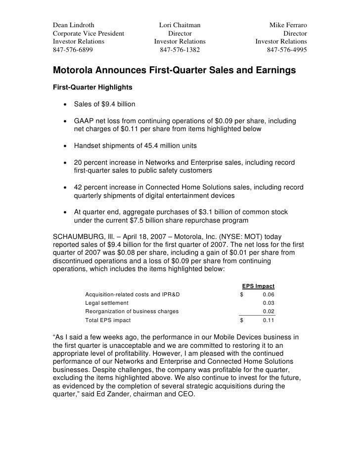 Q1 2007 Earnings Release