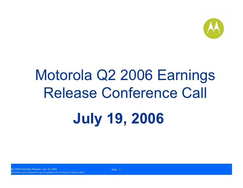 Q2 2006 Motorola Inc. Earnings Conference Call Presentation