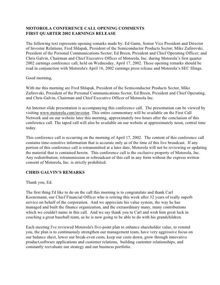 MOTOROLA CONFERENCE CALL OPENING COMMENTS FIRST QUARTER 2002 EARNINGS RELEASE  The following text represents opening remar...