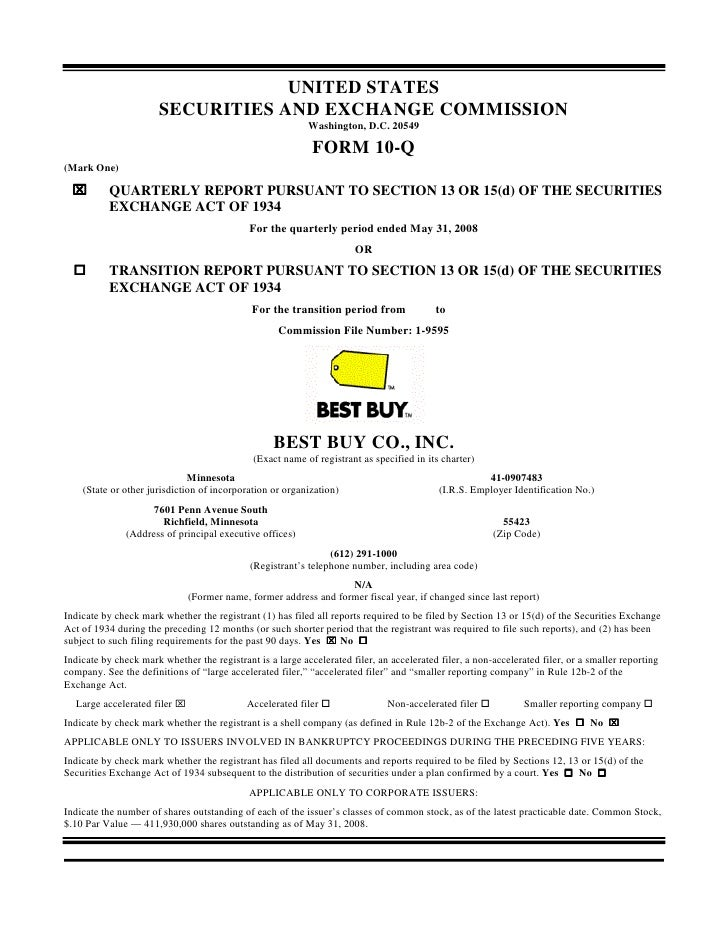 best buy best buy First Quarter 2009 10k form