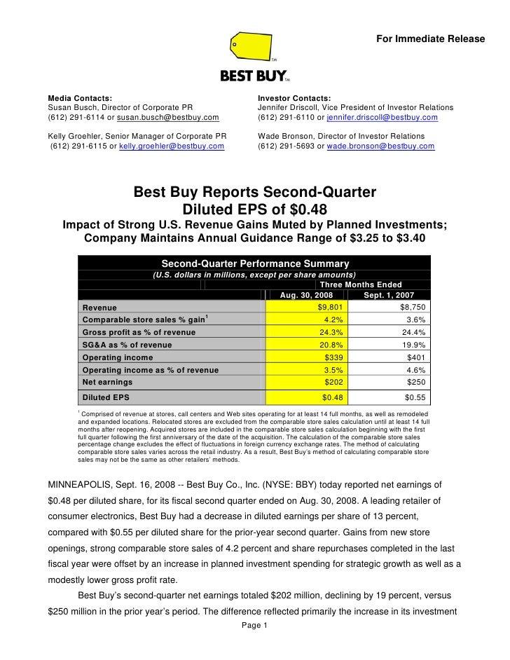 best buy Second Quarter 2009