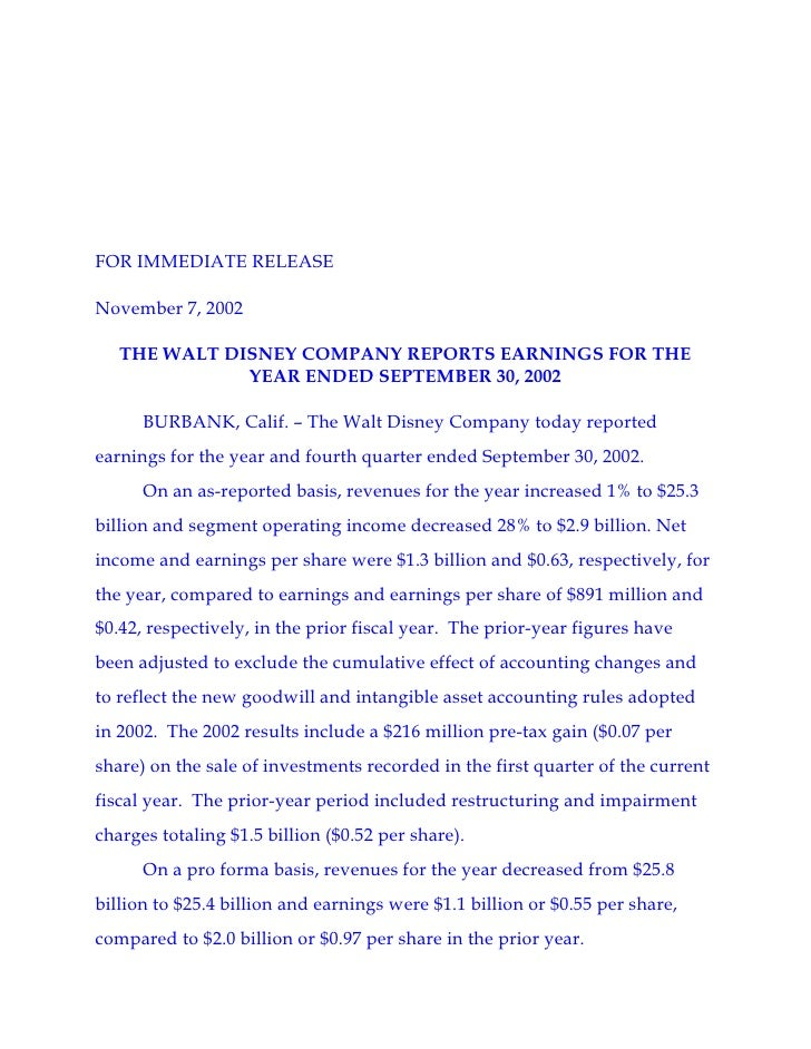 FOR IMMEDIATE RELEASE  November 7, 2002     THE WALT DISNEY COMPANY REPORTS EARNINGS FOR THE               YEAR ENDED SEPT...