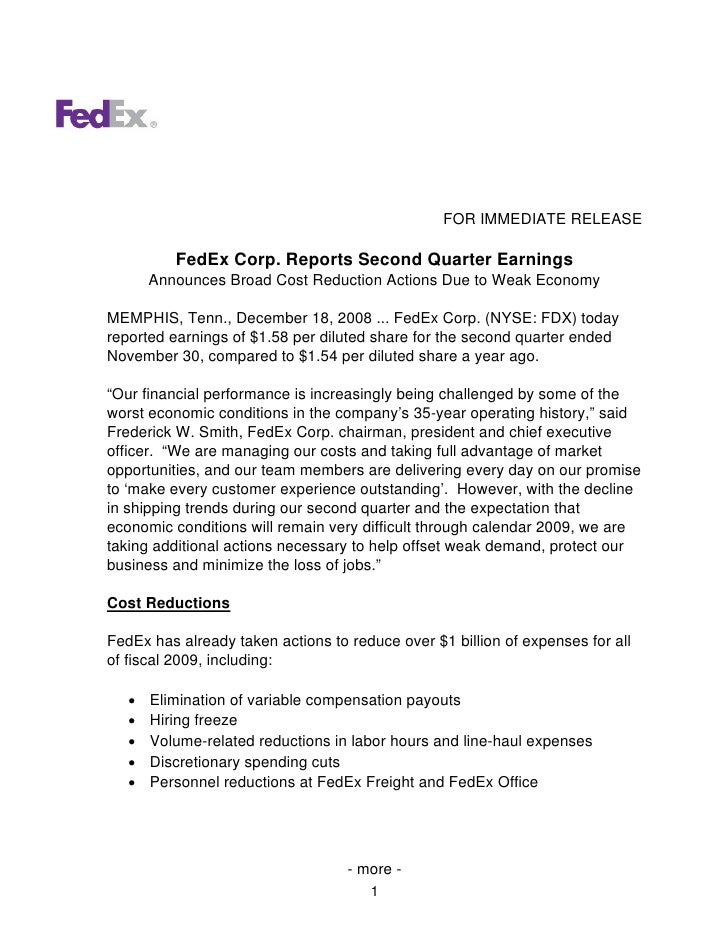 FOR IMMEDIATE RELEASE            FedEx Corp. Reports Second Quarter Earnings        Announces Broad Cost Reduction Actions...