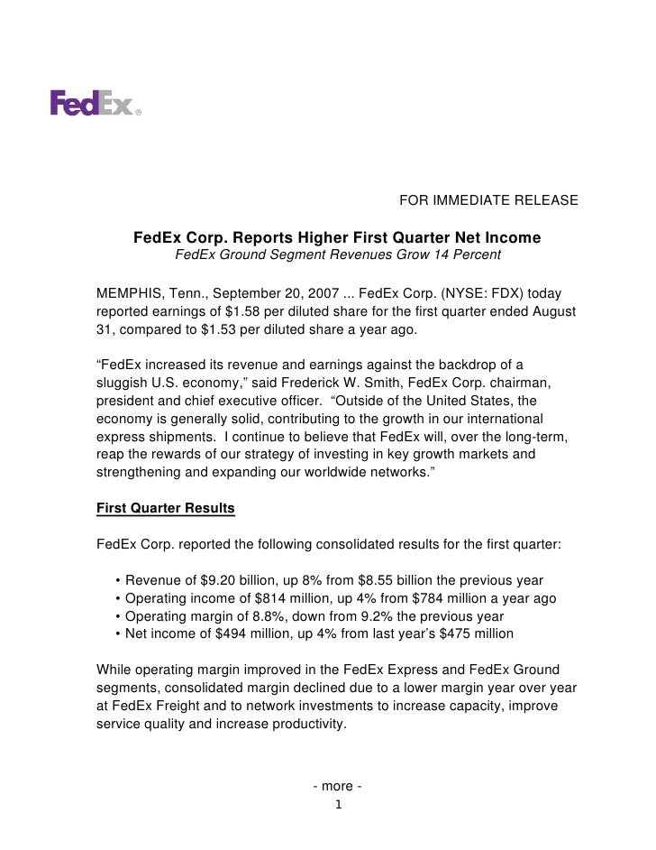 FOR IMMEDIATE RELEASE          FedEx Corp. Reports Higher First Quarter Net Income               FedEx Ground Segment Reve...