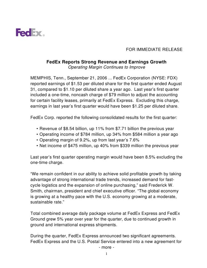 FOR IMMEDIATE RELEASE            FedEx Reports Strong Revenue and Earnings Growth                      Operating Margin Co...