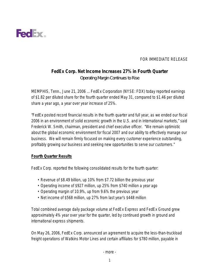 FOR IMMEDIATE RELEASE               FedEx Corp. Net Income Increases 27% in Fourth Quarter                               O...