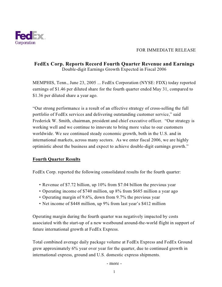 FedEx Corp. Reports Record Fourth Quarter Revenue and Earnings Jun 23, 2005