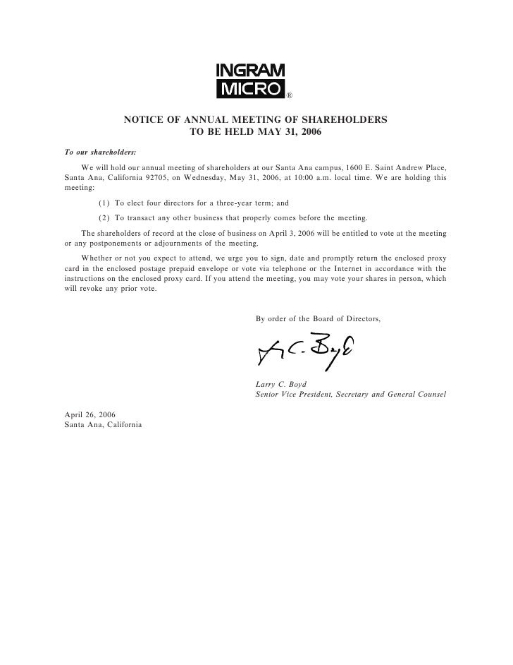 ®                   NOTICE OF ANNUAL MEETING OF SHAREHOLDERS                             TO BE HELD MAY 31, 2006 To our sh...