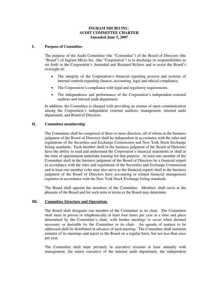 INGRAM MICRO INC.                             AUDIT COMMITTEE CHARTER                                  Amended June 5, 200...